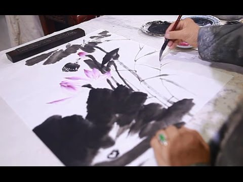 Lotus Flower Painting In Chinese Brushes Youtube