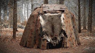 Building a Dome Hut: Bark Roof Bushcraft Shelter