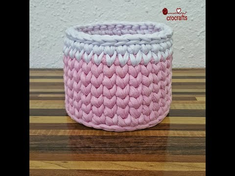 How to crochet round basket tshirt yarn | طريقة كروشيه باسكت