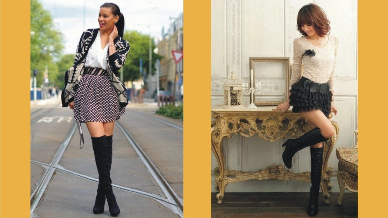 Image result for high boots and short skirt""
