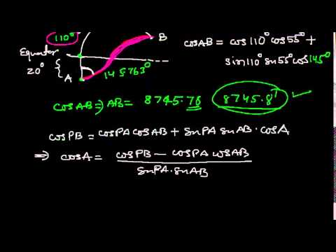Calculation of Great Circle dist, initial and final course.  Example #3