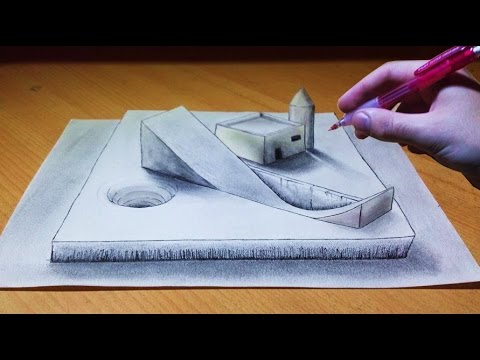 Trick art drawing 3d illusion platform youtube