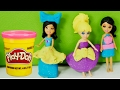 Play Doh sparkle dresses for dolls. Video for kids.
