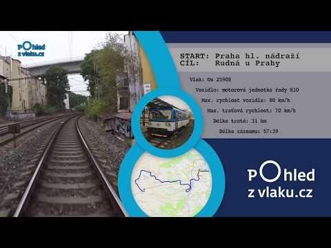 Praha hl. nádraží - Rudná u Prahy / POHLED NA TRAŤ Z ČELA JEDNOTKY/ HD KVALITA