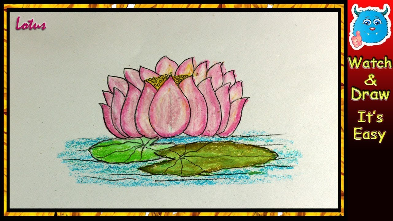 How to draw lotus flower drawing tutorial in oil pastel very easy how to draw lotus flower drawing tutorial in oil pastel very easy izmirmasajfo
