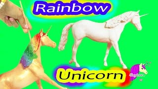 Watch as I custom paint a rainbow unicorn Classic Breyer model hors...