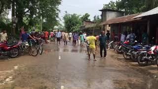 মৌলভী বাজার উপজেলার সামনে বন্যা এলাকা মাছ ধরা হচ্ছে । 2018