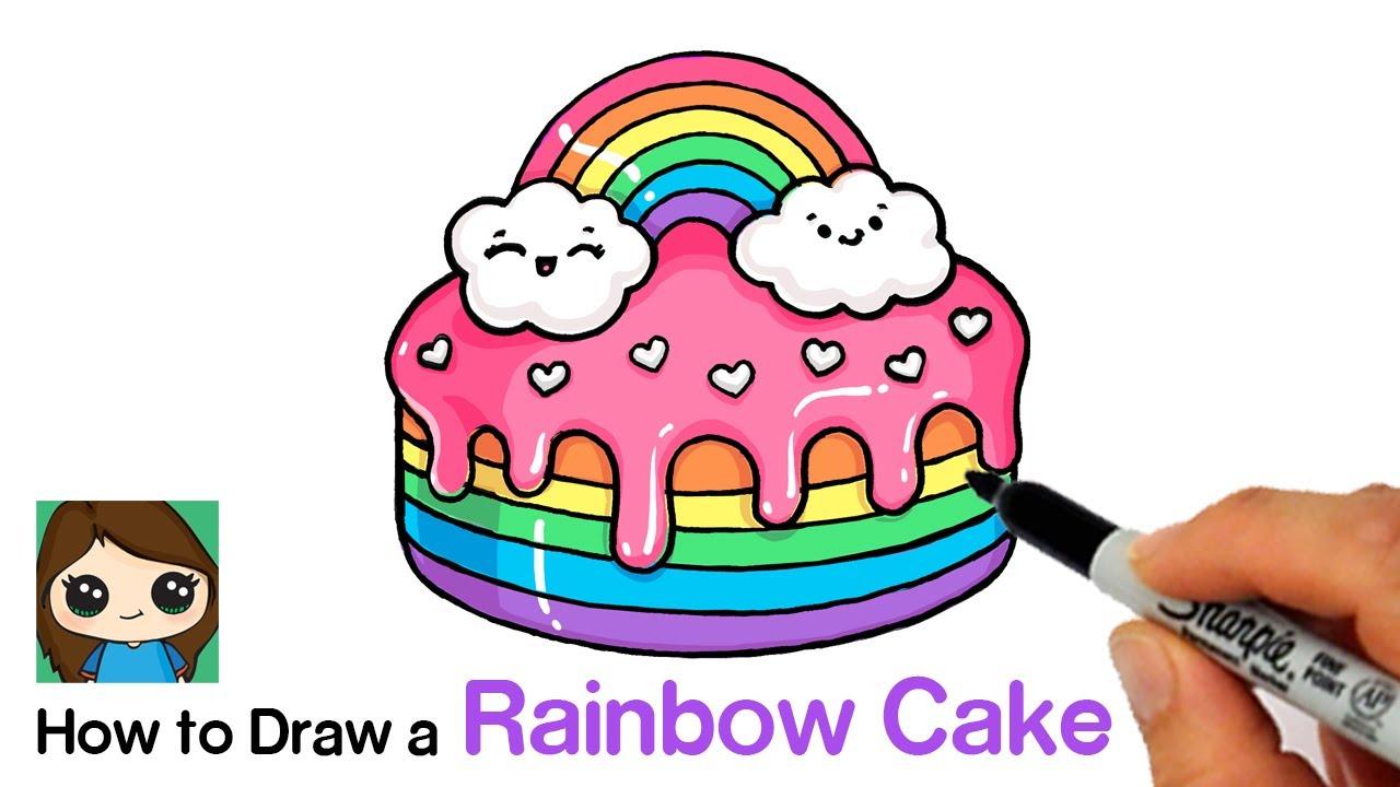 How To Draw A Rainbow Cake Moriah Elizabeth Youtube