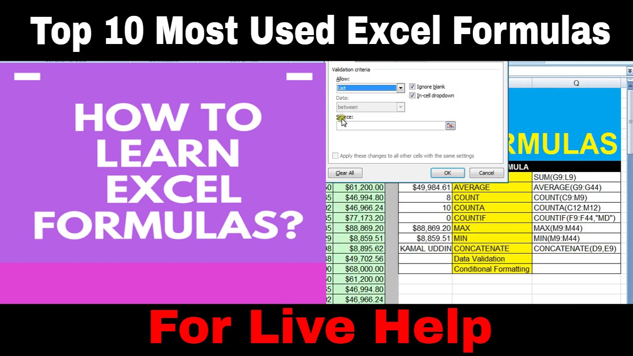 top 10 most used excel formula microsoft excel tutorials youtube