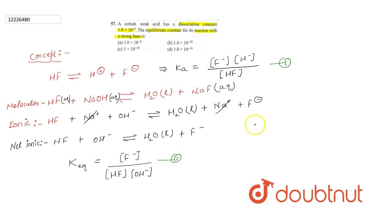 A certain weak acid has a dissociation constant `1.0xx10 ...