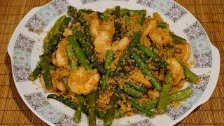 Кинoа (крупа) с креветками и спаржей_Quinoa with srimp and asparagus