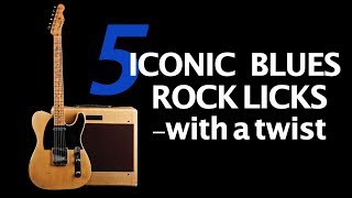 5 Iconic Blues Rock Guitar Licks with a Twist Video lesson: Free Jam Tracks