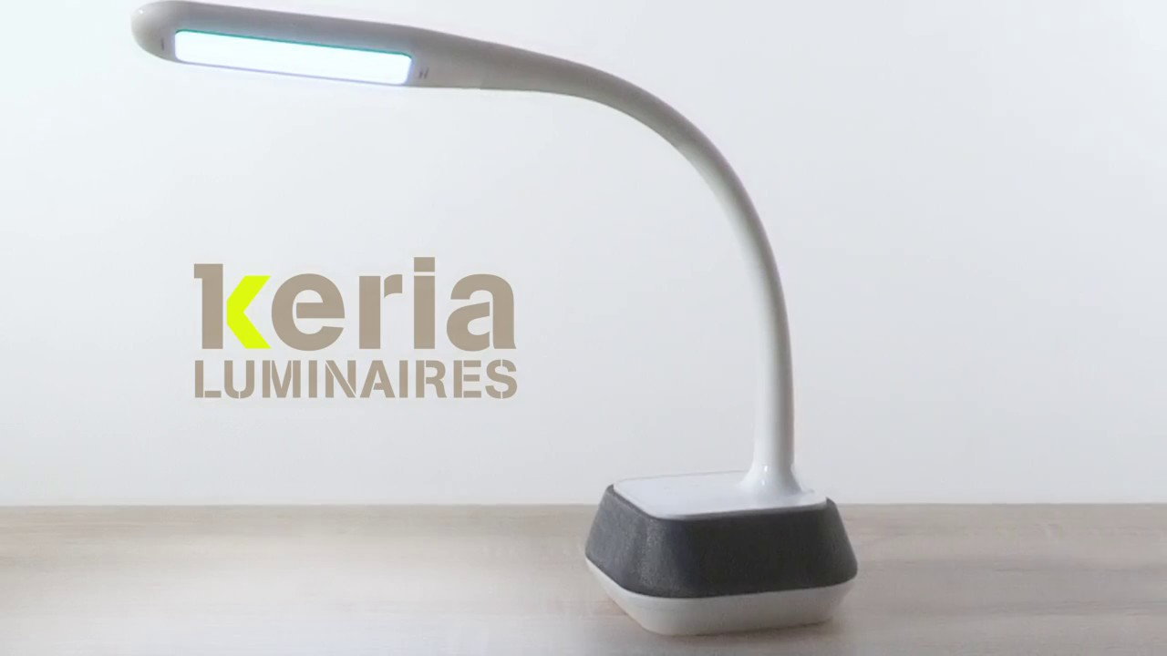 keria luminaires vid o lampe de bureau led dimmable speak enceinte int gr e youtube. Black Bedroom Furniture Sets. Home Design Ideas