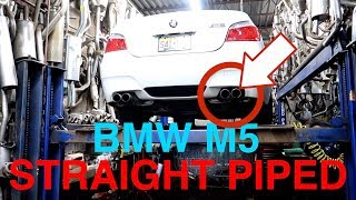 V10 BMW M5 STRAIGHT PIPED!!! Start up, REV,+ EXAUST SOUNDS (INSANE SOUND)
