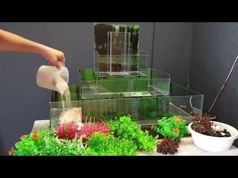 Making An Interesting Aquarium Is So Much Fun - Waterfall Aquarium With Three Storey Cleaning System