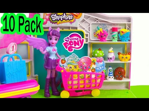 Shopkins 10 PACK Small Mart Blind Bag Surprise Toy Unboxing My Little Pony MLP Twilight  Video