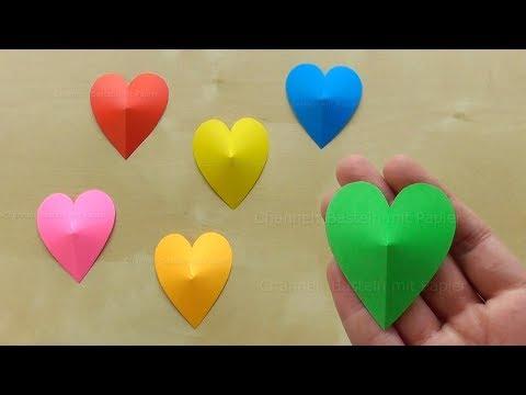 3D Herz basteln mit Papier 💚 Einfache Bastelideen zum Geschenke & Deko selber machen