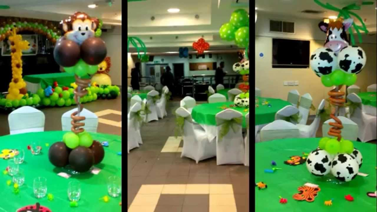 Jungle theme balloon decoration youtube for Animals decoration