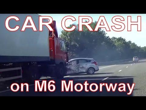 Car Crash. Ford Focus & Lorry Collide on M6 Motorway.