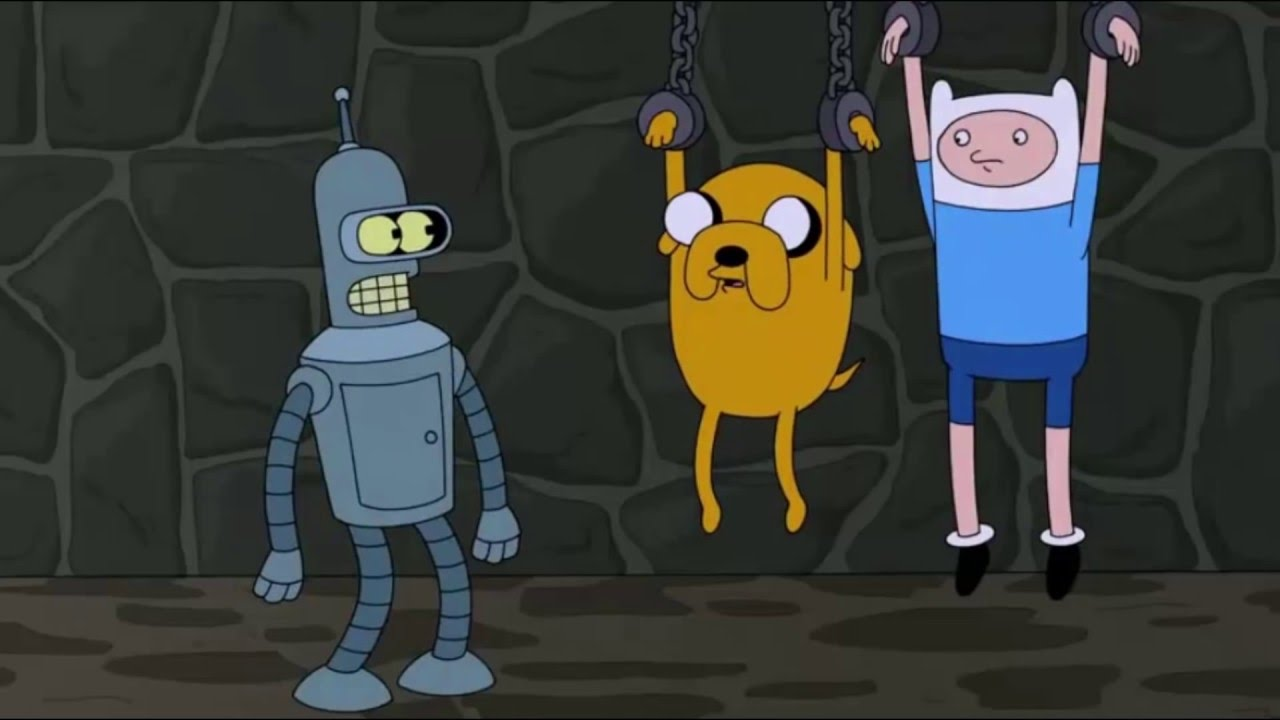 futurama and adventure time crossover bender meets jake and finn