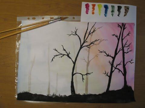 Как нарисовать лес на заднем плане