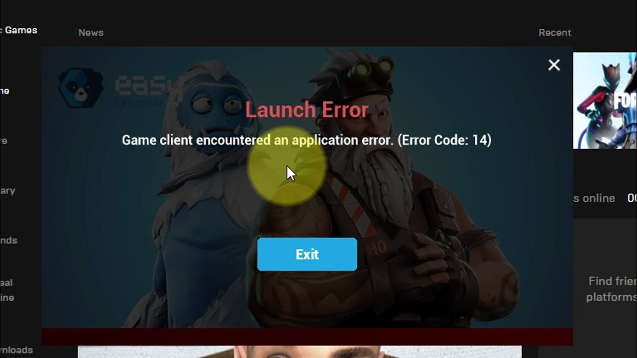 fix fortnite game client encountered an application error error code 14 - fortnite error code