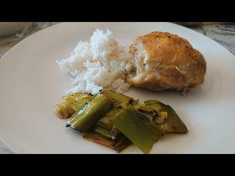 poulet-au-curry-et-fondue-de-poireaux-au-lait-de-coco