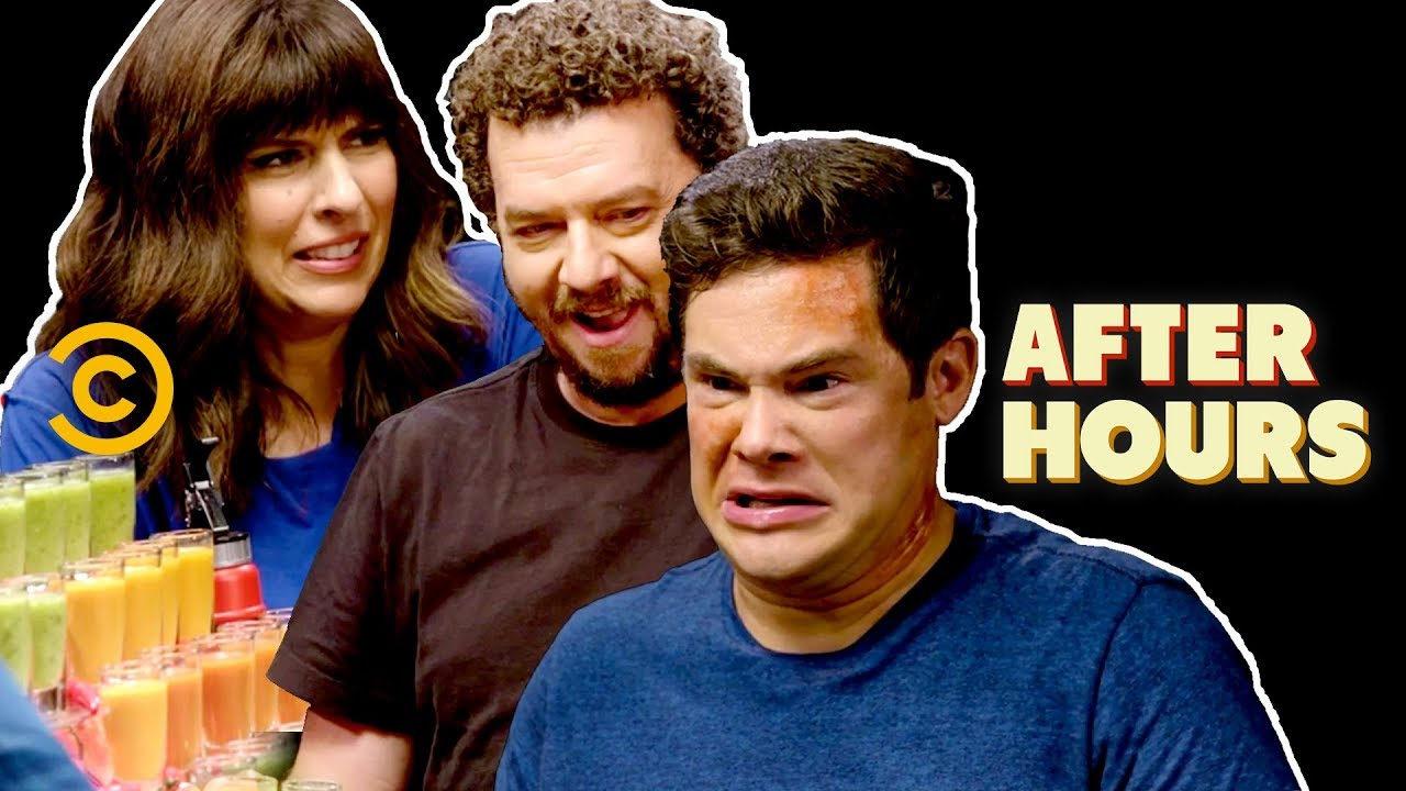 Adam Devine, Danny McBride & Edi Patterson Chug Hot Sauce - After Hours with Josh Horowitz