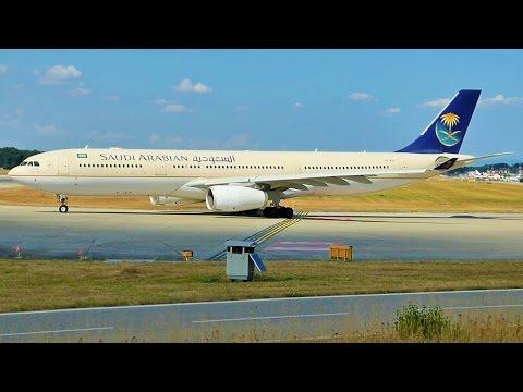 [FullHD] Saudia Airbus A330-300X landing & takeoff at Geneva/GVA/LSGG