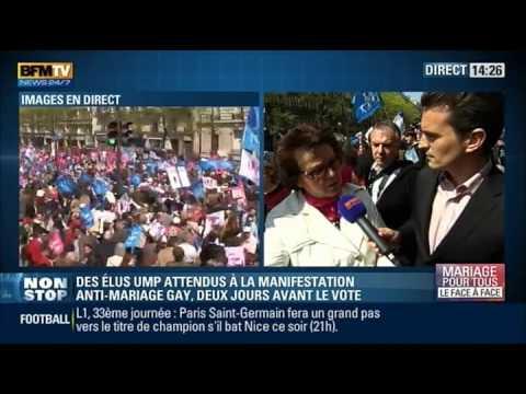 Interview de Christine Boutin en pleine Manif Pour Tous (21/04/13, BFM TV)