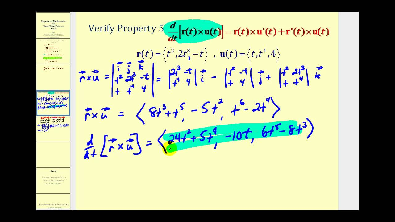 the derivative of the cross product of two vector valued functions