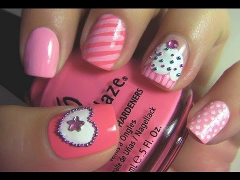cute and easy cupcake nail art, very easy for the beginners - youtube