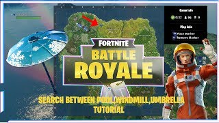 Fortnite Season 3 Challenge: Search between a Pool, Windmill and Umbrella Tutorial!
