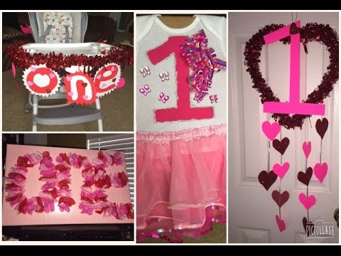 DIY 1st Birthday Party Decorations Onesie Shirt On A Budget Valentines Baby Cheap Easy