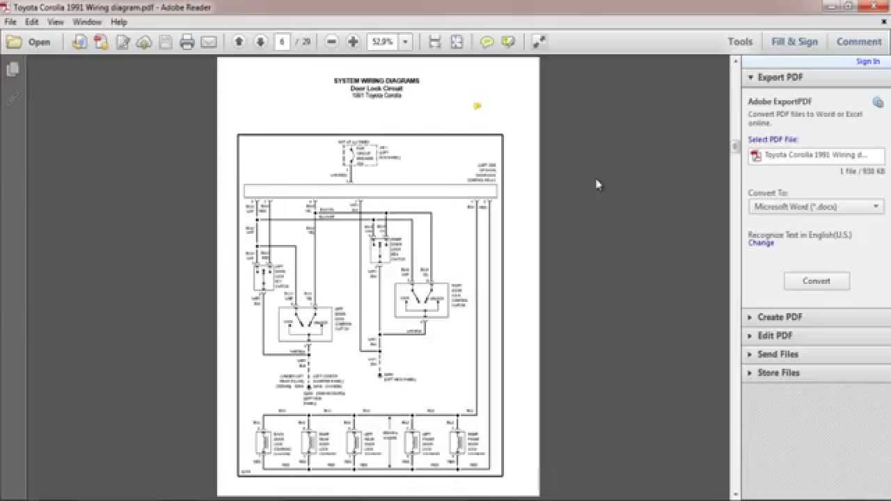 Toyota Corolla 1991 Wiring Diagram - YouTube