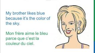 Dialogue 12 - English French Anglais Français - My favorite color vocabulary - Ma couleur préférée