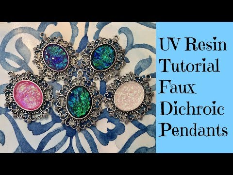 UV Resin Tutorial Creating Faux Dichroic Pendants Plus Giveaway see description
