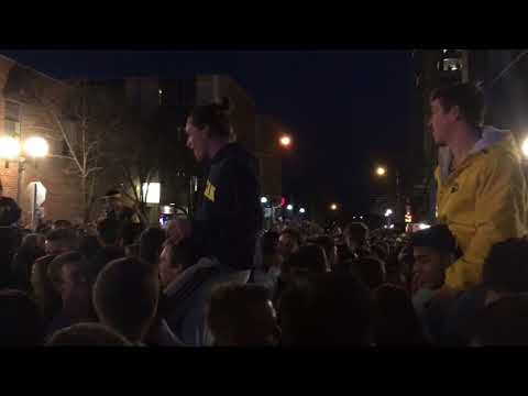 """""""It's great to be a Michigan Wolverine!"""" crowd chants in Ann Arbor"""
