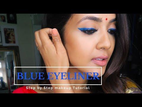 Blue Liner   Saree Look   Vithya Hair and Makeup