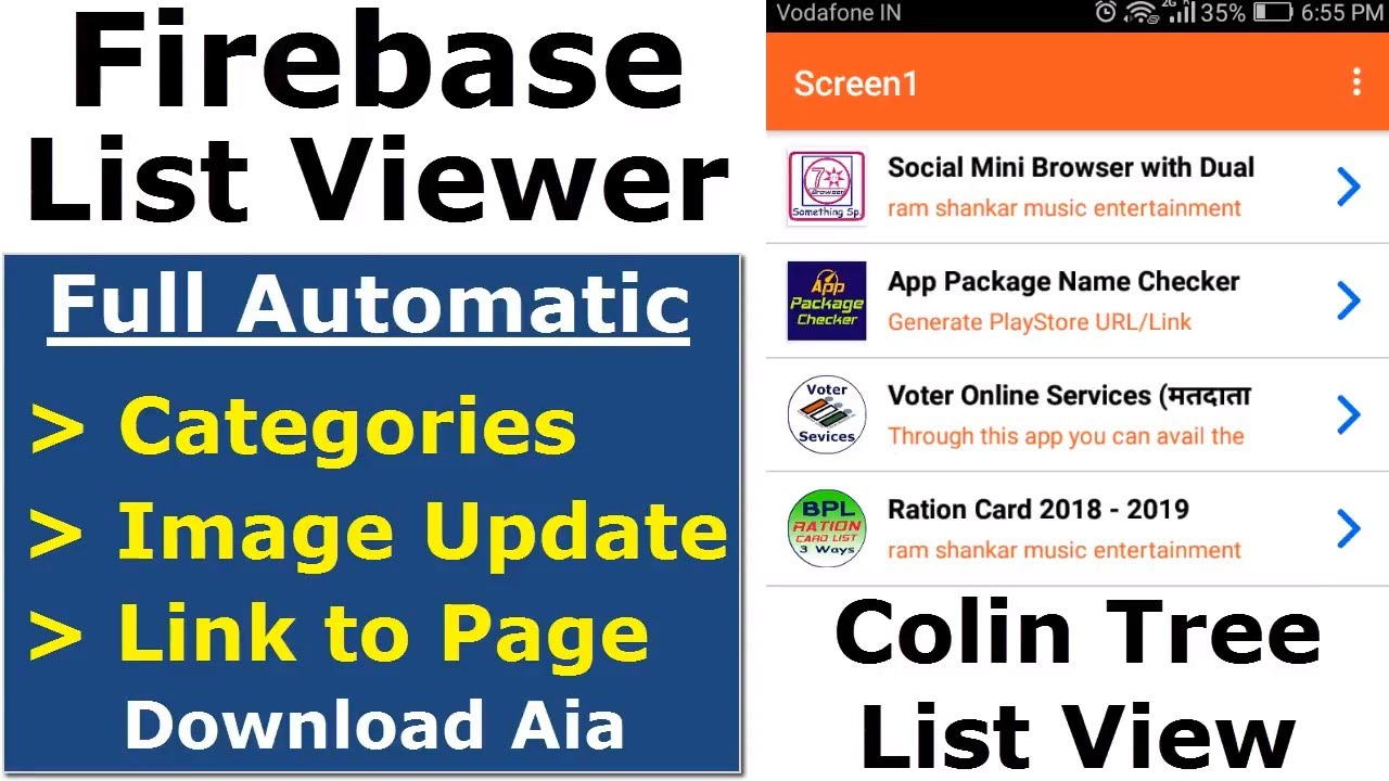 Thunkable Firebase List Viewer App with Auto Image and Link update: Colin  Tree List View Element