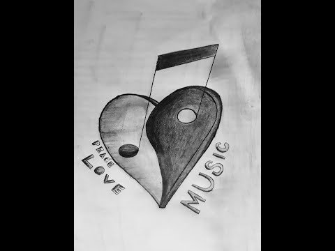 how to draw love and music symbol | 2017