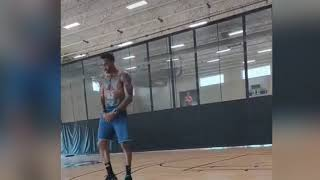 Dwight  Howard in the lab working on his game hoping to find a new team