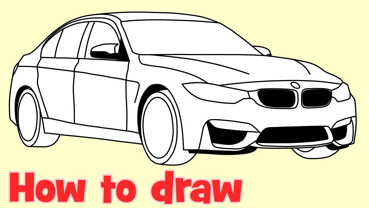 How To Draw A Car Bmw M3 Sedan Step By Step Drawing Youtube