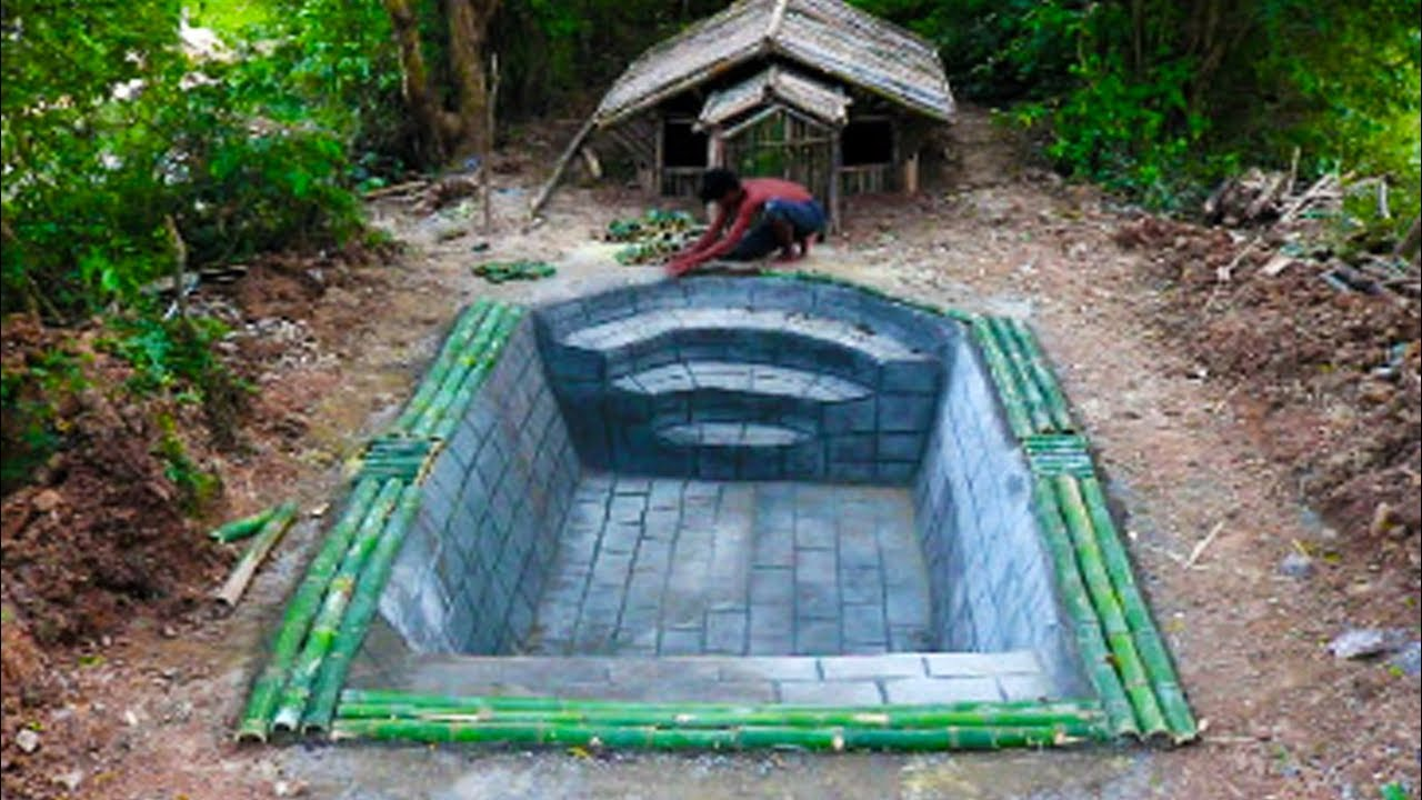 Build house by bamboo and swimming pool front of house - Get a swimming pool full of liquor ...