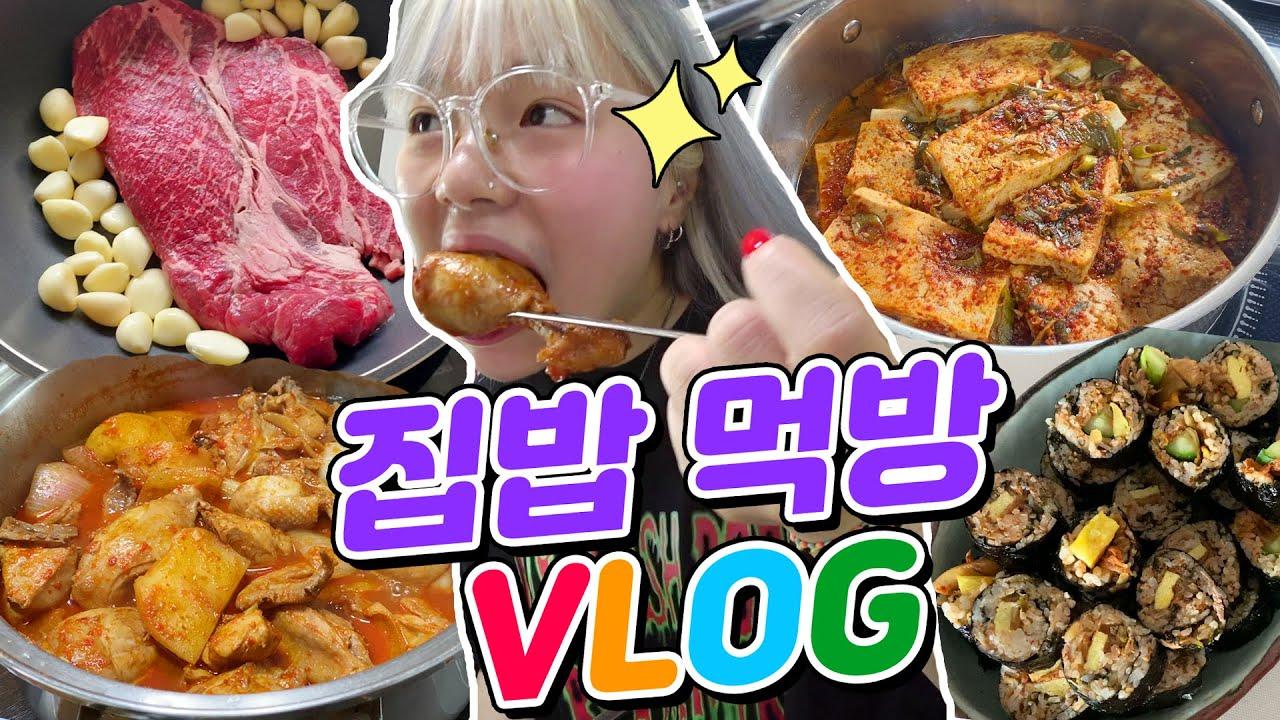 자매 집밥먹방 닭볶음탕+소고기+김밥+두부조림+빙수+와플+토스트+씨리얼 그리웠어요ㅠ_ㅠ~! w.동생(ENG,JP SUB)