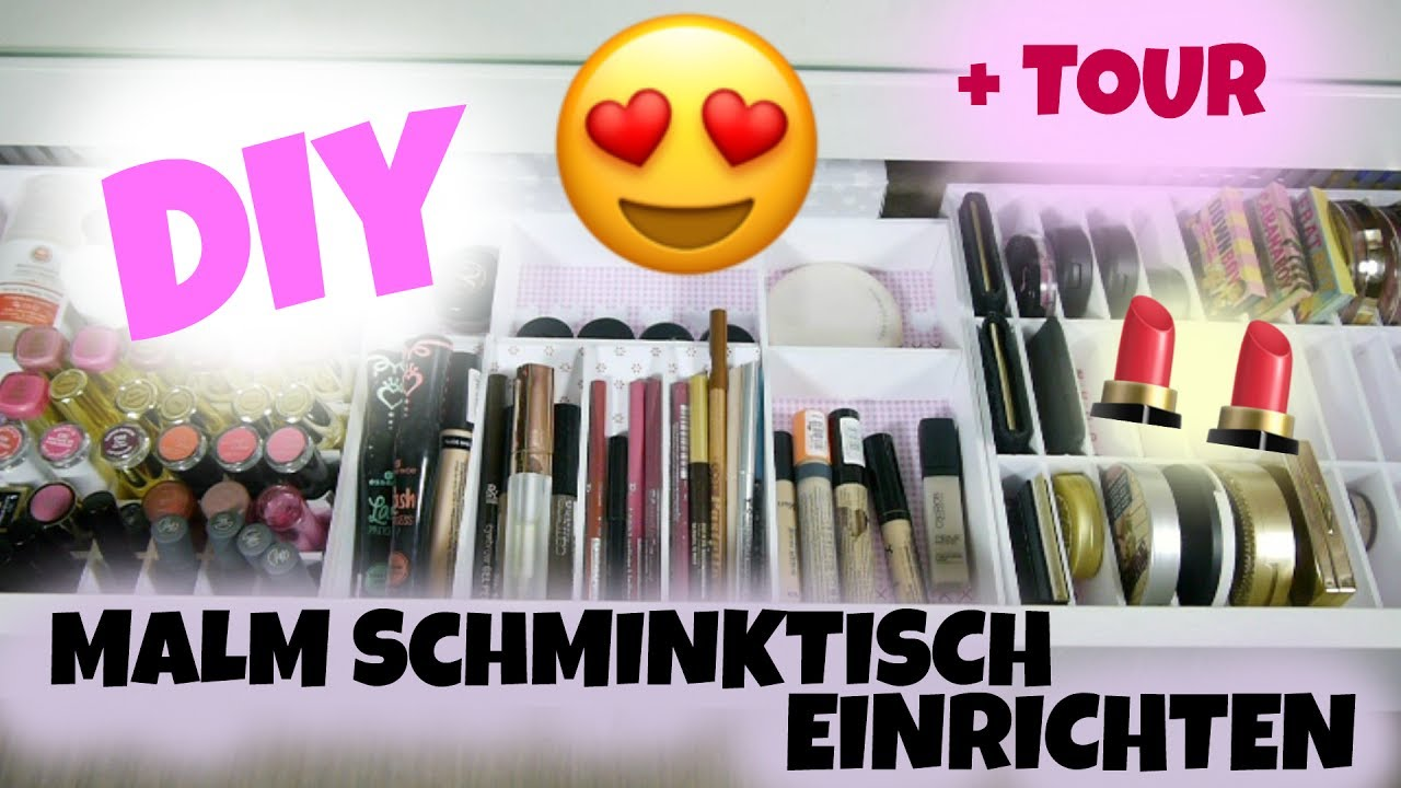 malm schminktisch einrichten diy schubladeneinsatz youtube. Black Bedroom Furniture Sets. Home Design Ideas