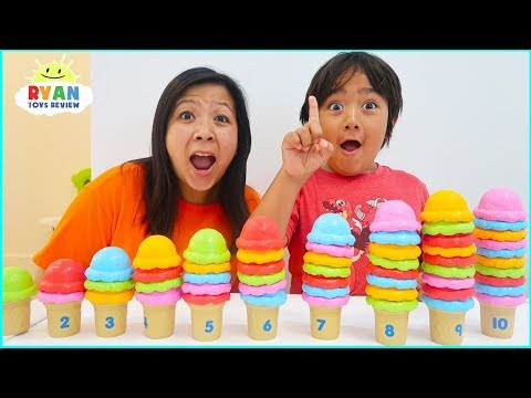 Ryan Pretend Play with Ice Cream Shop and learn to count!!!