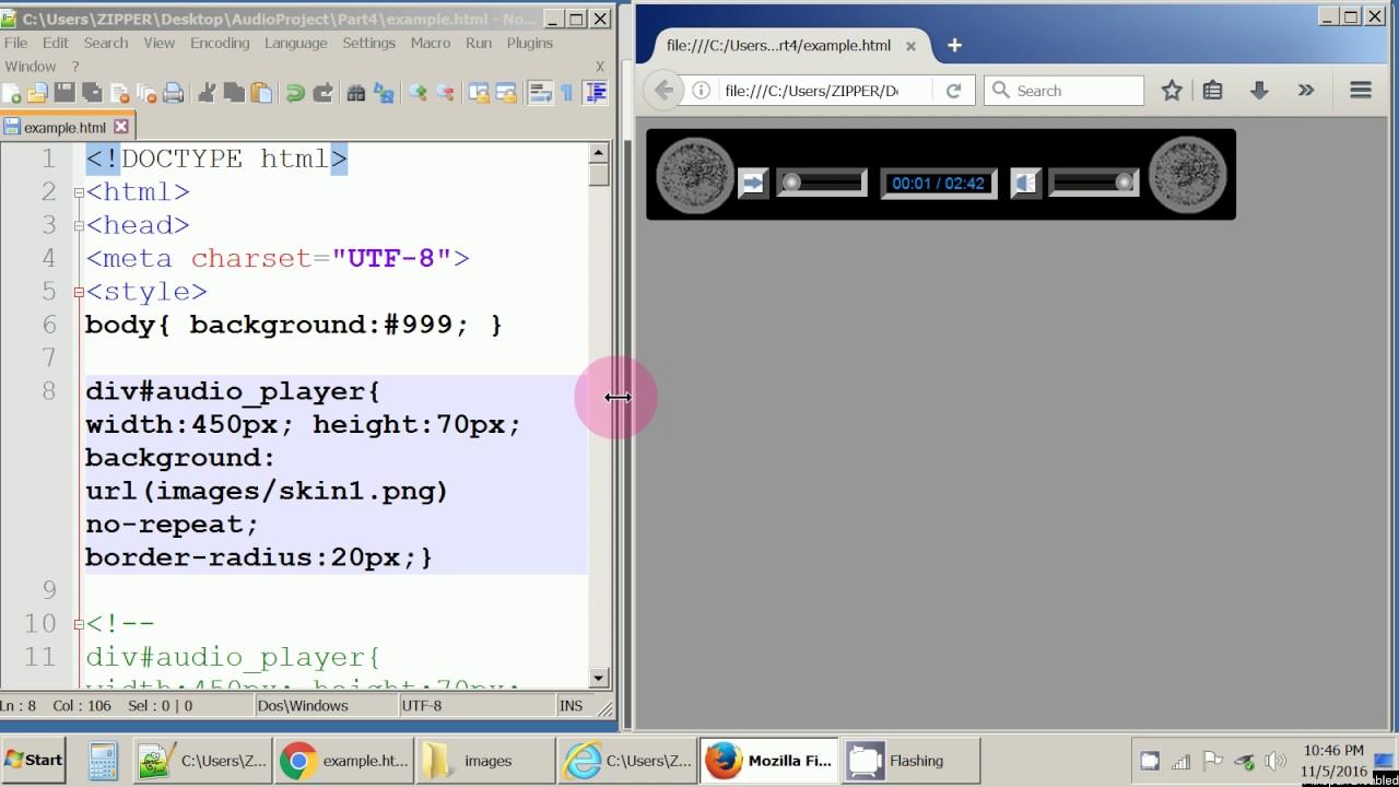 Custom Audio Player - JavaScript, HTML, and CSS