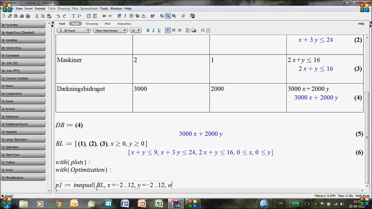 Lineær Programmering i Maple