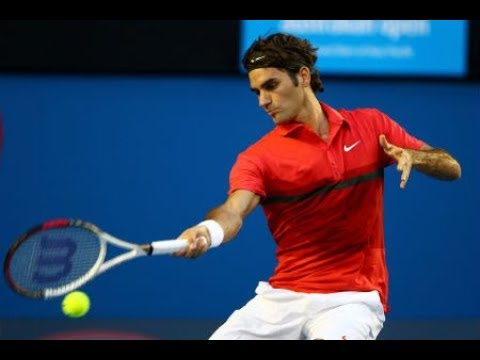 Roger Federer forehand in slow motion and super slow motion.
